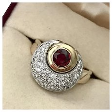 Gorgeous! Ruby & Diamond Crescent Moon Ring 1.30CTW Size 7-1/2