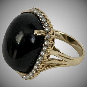 Big-Bold-Beautiful! Black Onyx & Seed Pearl 14K YG Cocktail Ring  Size 8-1/4