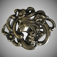 Authentic Art Nouveau Figural Pin/Fob Sterling Gold Overlay