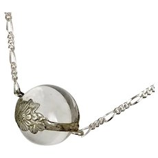 Antique 12MM Pools of Light Orb with Sterling Silver Split Chain 18-1/4 Inches