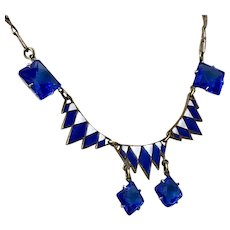 Stunning! Art Deco Enamel & Blue Glass Copper Necklace 17-1/4 Inches