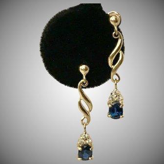 Beautiful Blue Sapphire & Diamond Earrings