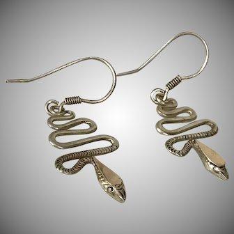 Sterling Silver/14K YG Snake Earrings 1-1/2 Inches