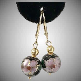 14K Gold Cloisonné Bead Drop Earrings Lever Backs