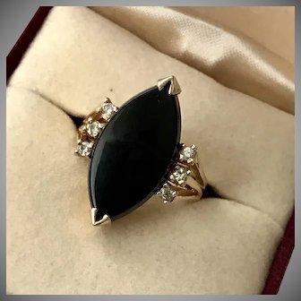Stunning! 14K YG Diamond & Black Onyx Navette Ring Size 6-1/4