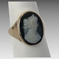 Victorian 14K YG Gold  Black & White Hard Stone Cameo Ring Size-6-3/4