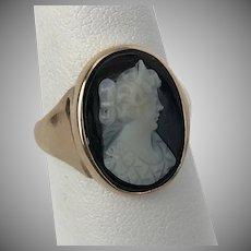 Victorian 14K YG Gold  Black & White Hard Stone Cameo Ring Size-6-3/4