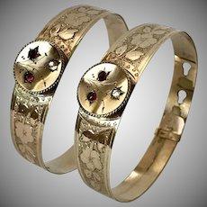 Lovely Pair! Antique Victorian Rolled Gold Adjustable Slide Bracelets