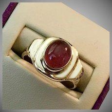 Lovely! 14K YG Pink Tourmaline Cabochon Ring Size 6-3/4