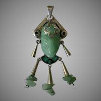 Beautifully Carved Green Aventurine Face with Malachite & Black Onyx Pendant