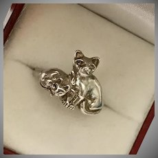 Sweet! Sterling Silver Kitty Cat Ring Size 6-3/4