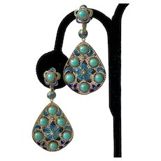 Stunning! 1920s Chinese Export Gilt Silver Filigree Earrings