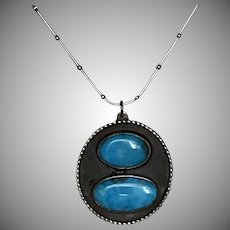 Striking! Turquoise Pendant with 24-Inch Beaded Snake Chain