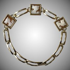 Simmons Vintage Carved Shell Cameo Bracelet Gold Fill  7-Inches