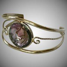 Pretty! Sterling Silver Abalone Cuff/Bracelet