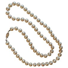 Lovely 22-Inch Faux Pearl Necklace 14K YG Clasp