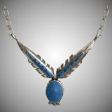 Richard Begay Navajo Sterling Denim Lapis Pendant Necklace 17-1/2 Inches
