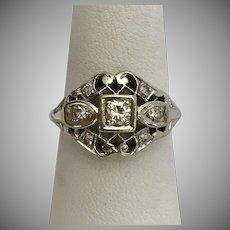 14K WG Diamond Filigree Ring Size 6-1/2