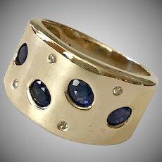 Striking! 14K YG Sapphire & Diamond Ring/Band Size 5-3/4 Hand Made