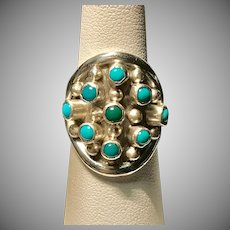 Sterling Silver Turquoise Cabochon Dome Ring Size 7-1/2