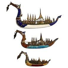 Rare! Set of 3-Sterling Silver Enamel Siam Dragon Ship Pins
