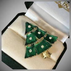 SHIMMERING! Green Holiday Tree Pin with Crystals