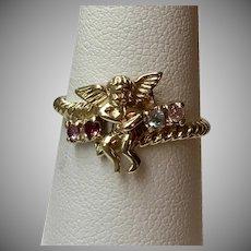 Cherub Gemstone Ring 10K YG Size 7-1/4