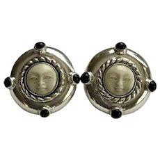 Fabulous! Sterling Silver & Black Onyx Moon Face Man Earrings