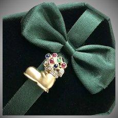 14K YG Gemstone & Diamond Studded Boot Pendant/Pin