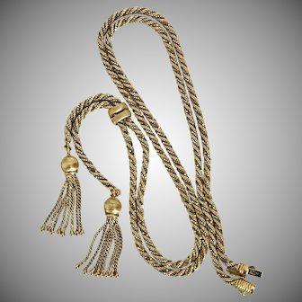 GORGEOUS! 32-Inch Heavy 42 Grams 18K Rope Tassel Chain  Vintage c1960/70
