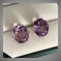 14K YG  Large Amethyst Gemstone Earrings