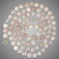 Pretty in Pink! 14K YG  32-Inches Rose Quartz Bead Necklace