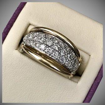 Stunning! 0.75CTW 14K YG Articulated Diamond Ring Size 7-1/4