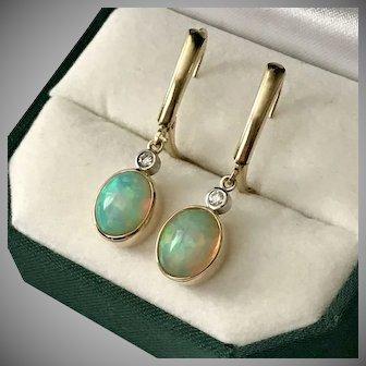 Gorgeous! 14K YG Opal and Diamond Earrings