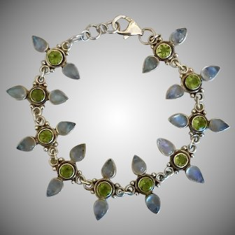 Vintage Moonstone & Peridot Sterling Silver Bracelet