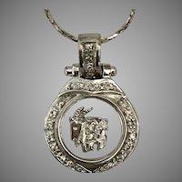 Unique! 18K WG/ Diamond Aries Zodiac Pendant