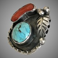 Beautiful! Hand Made Coral and Turquoise Sterling Silver Pendant