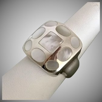 Big Bold Modernist Mother of Pearl Sterling Silver Ring