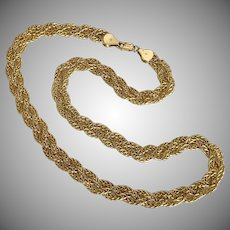 Italian Braided 14K YG Chain Necklace 17-1/4 Inches