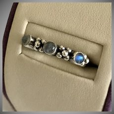 Vintage 3-Stone Moonstone Cabochon Ring Sterling Silver Size 6