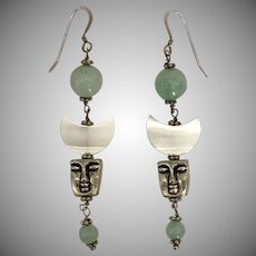 Moon Face/Crescent Moon Aventurine Sterling Silver Earrings