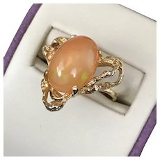 Stunning! 14K YG Mexican Fire Opal Ring Size 5-1/4