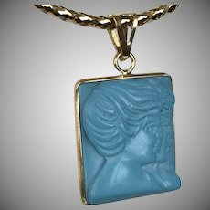 18K YG  Persian Turquoise Hand Carved Gemini Pendant