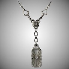 Lovely 14K WG Art Deco Diamond Camphor Glass Necklace  19-1/2 Inches
