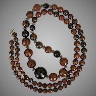 Beautiful! 36-Inch Faceted Mahogany Obsidian Bead Necklace