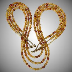 Beautiful! 19-Inch 3-Strand Fire Opal Bead Necklace