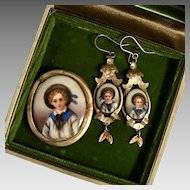 C1890 Very Rare! Victorian Demi-Parure Little Blue Boy Hand Painted Porcelain Brooch/Earrings