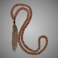 Vintage 32-Inch Hand Made Braided Copper Necklace with Tassel