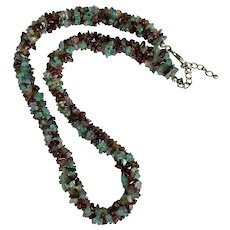 Colorful! Multi-Gemstone Tumbled Bead Necklace Sterling Silver