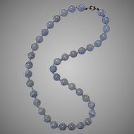 9.5MM Blue Lace Agate Beads 19-Inch Length Sterling Silver